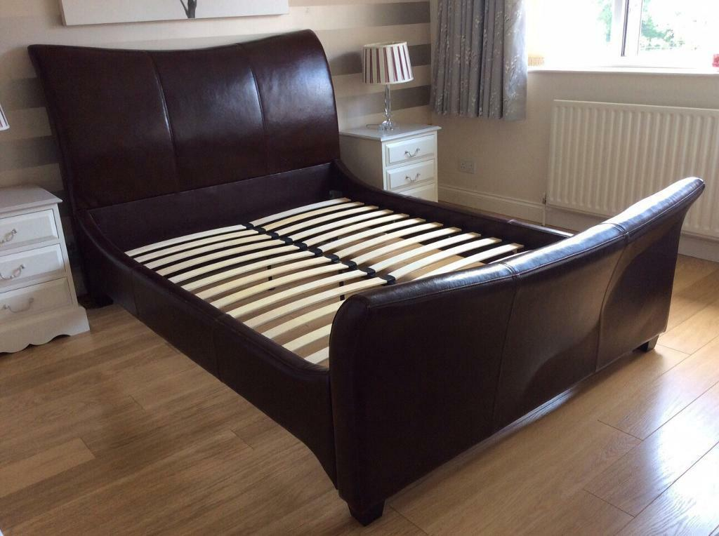 Double Bed -Bensons Beds - Leather - Used - Cognac - Warm ... on Cognac Leather Headboard  id=42359