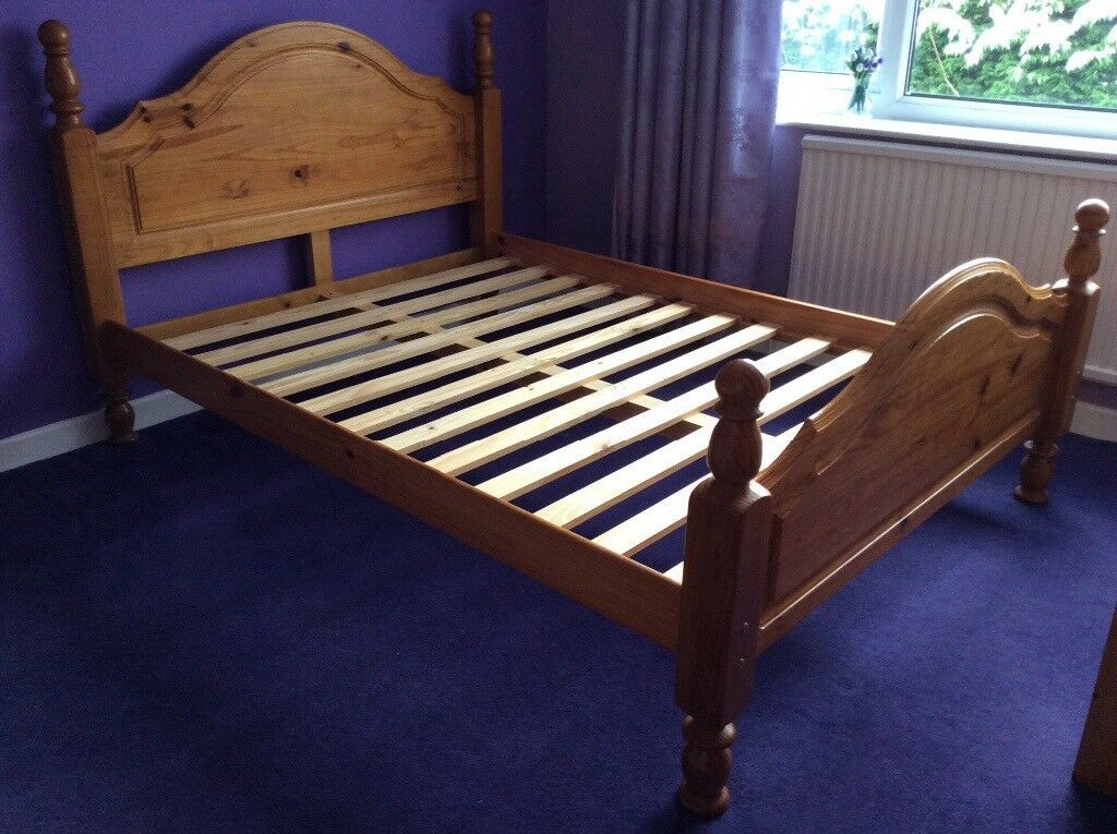 bed frame in sturdy pine with wooden slats in Double Bed Slats id=97062
