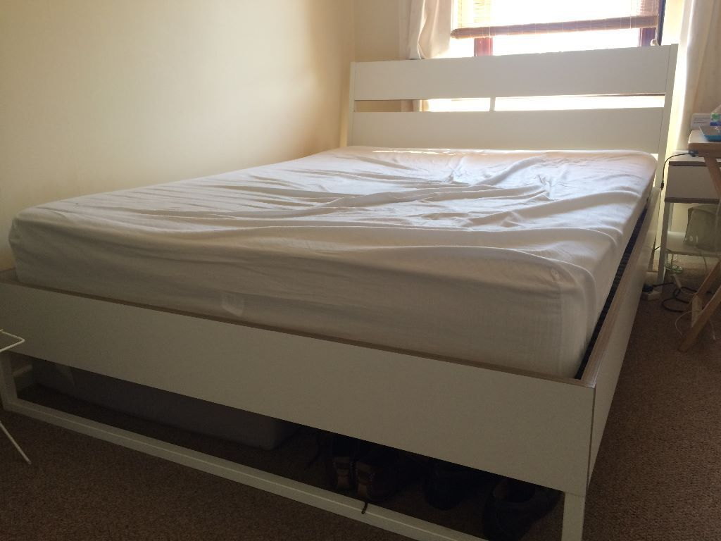 King Size Ikea Trysil Bed Frame With Leirsund Slatted Base