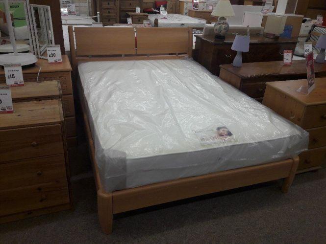 Light Wood Double Bed Perfect Sleep Mattress