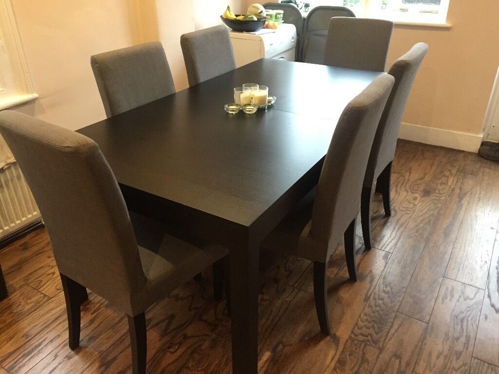 Ikea Solid Pine Brown-black Dining Table And 6 Grey Chairs