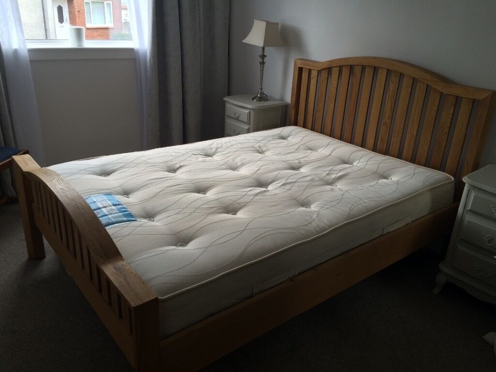 lovely solid oak bed with sprung slats for on Double Bed Slats id=94523