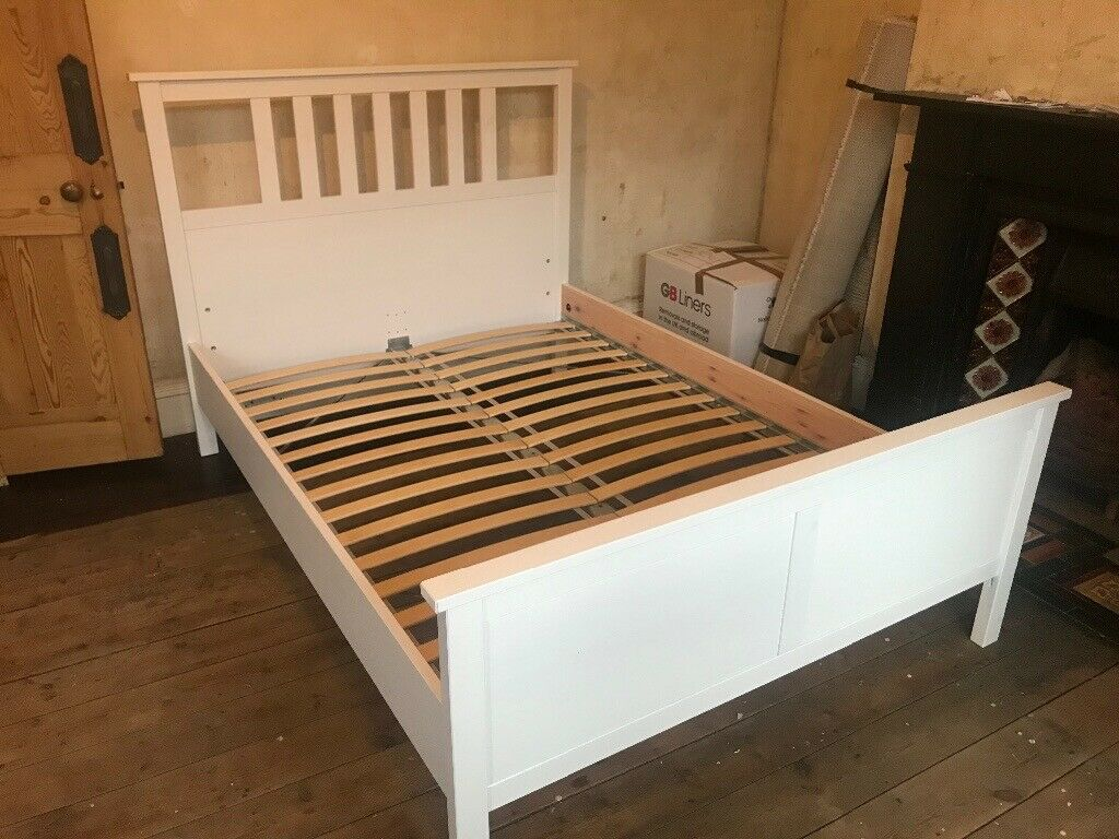 white bed frame plus slats barely used ikea on Double Bed Slats id=68464