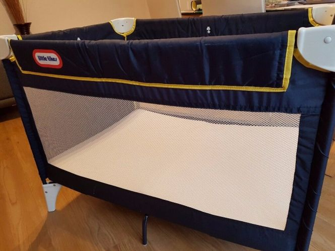 Little Tikes Navy Blue Travel Cot With Extra Foam Mattress For More Comfort