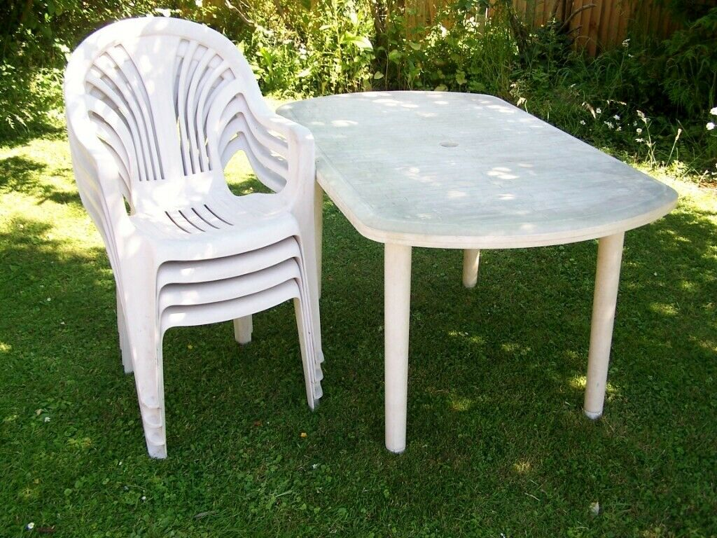 Oasis White Plastic Garden Table And 4 X Stacking Chairs In Whitstable Kent Gumtree
