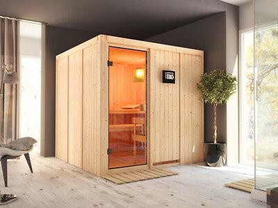 Sauna Innensauna Systemsauna CELINE 4 mit Ofenschutzgitter, 3 Liegen &