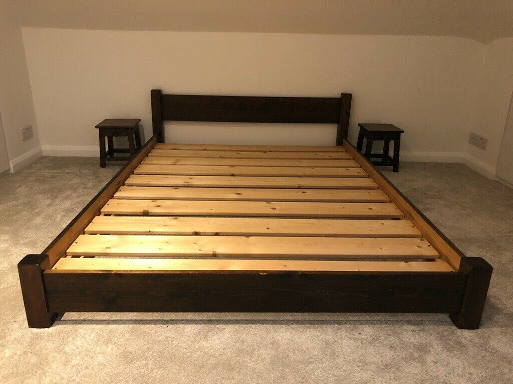 bed solid pine brown thick slats Double Bed Slats id=58466