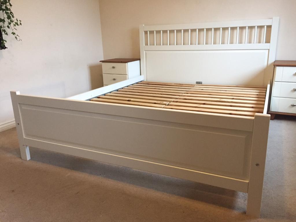 Ikea Hemnes White King Size Bed 200 X 150cm