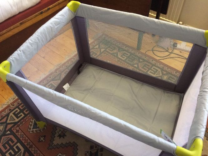 Travel Cot Argos Baby Start Grey And Green Perfect Condition