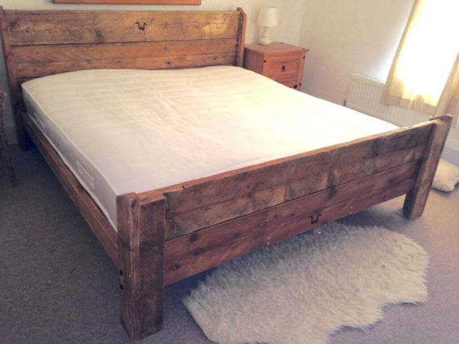 Uk Double Handmade Bespoke Rustic 100 Reclaimed Solid Wooden Bed Frame Vintage Farmhouse Shaby