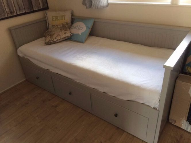 Ikea Hemnes Day Bed In Grey With 2 Malfors Mattresses
