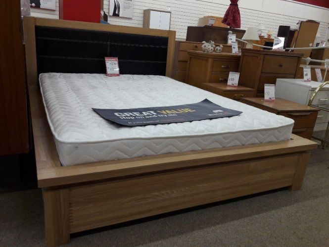 King Size Light Wooden Bed Frame And Mattress