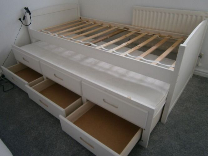 White Single Bed Frame With Pullout Guest Including Mattress And 3 Photo