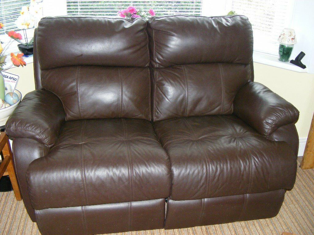 Looking for an amazing small leather sofa for your living room? 2 seater brown leather sofa, both seats are electric ...