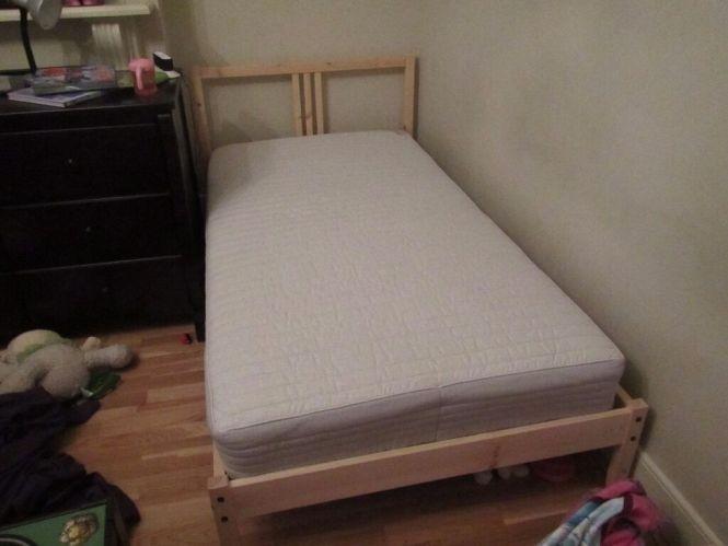 Ikea Fjellse Single Twin Bed Frame With Sultan Hurva Grey Spring Mattress