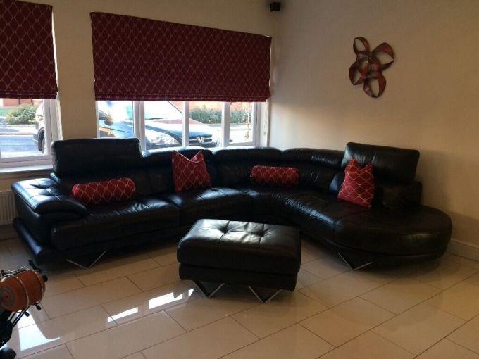 Cosmo Black Leather Sofa Catosfera Net