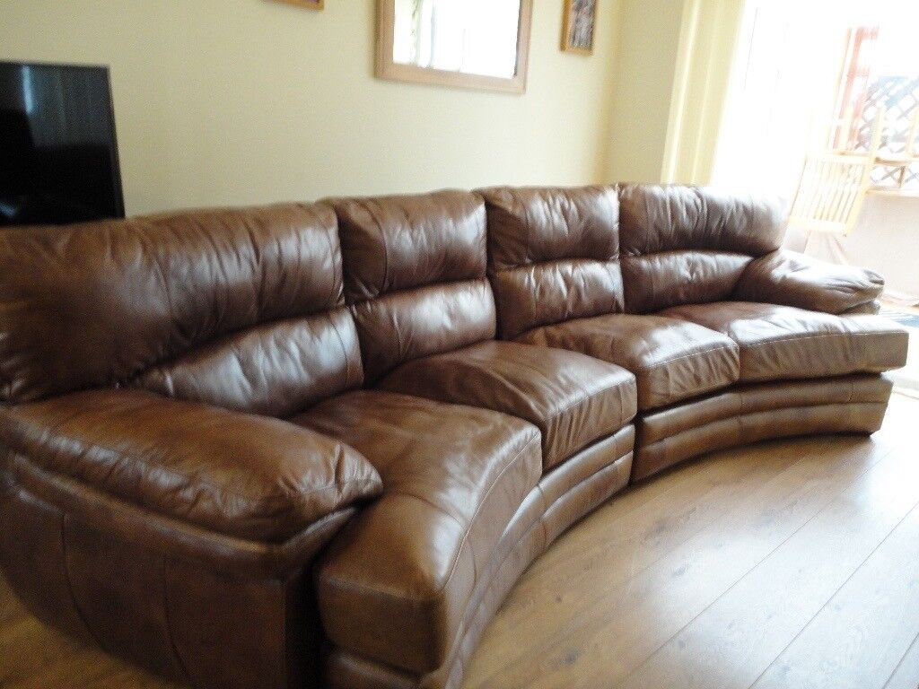 Large Curved Italian Brown Leather Sofa In Hartlepool County Durham Gumtree