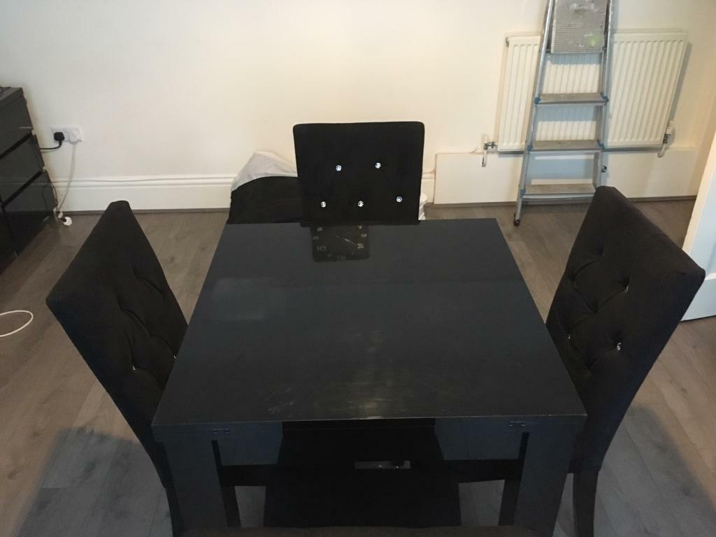 Next Black High Gloss Dining Table And Chairs