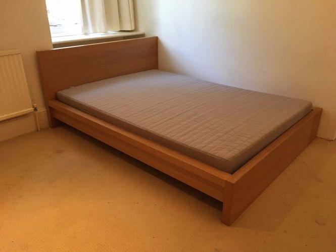 Ikea Double Bed Frame Oak Veneer Slatted Wood Base Mattress Bonus