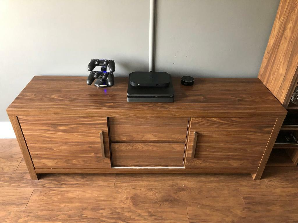 Next Walnut Style Tv Stand Matching Bookcase Dvd Cd Storage Unit In Prestwick South Ayrshire Gumtree