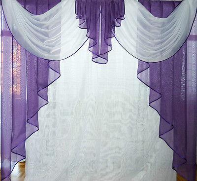 Deko-Gardine, Vorhang , Querbehang, lila / weiss, 1,60 m breit