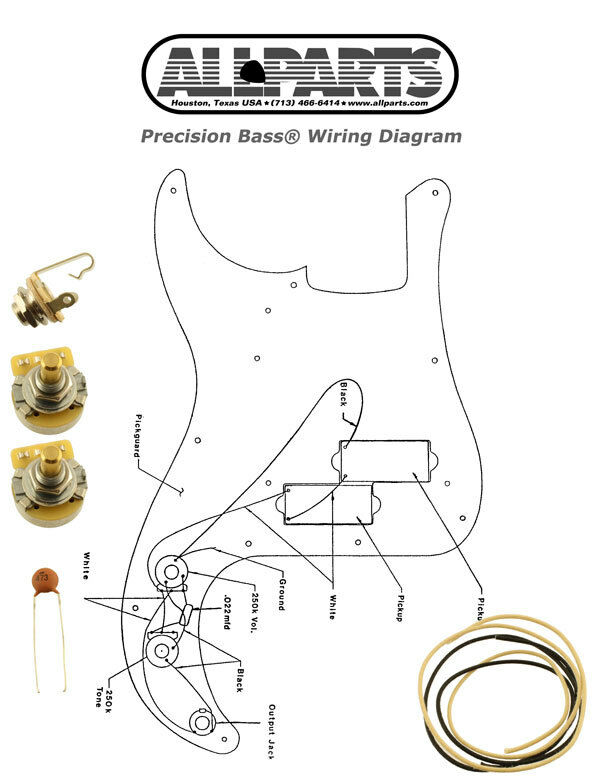 NEW Precision Bass Pots Wire & Wiring Kit for Fender P