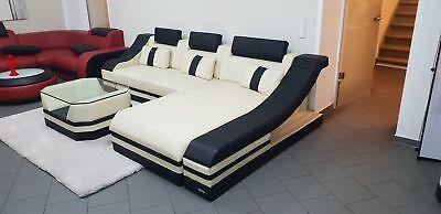 Ledersofa Couch TURINO L Form weiss LED Beleuchtung mit Couchtisch - AUSSTELLER