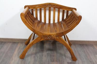 Sitzmöbel Scherenstuhl Stuhl mit Lehne Holz mit floraler Schnitzerei