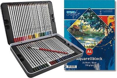 48 Aquarell Buntstifte + Aquarellblock im Metall-Etui Farbstifte DREIKANT-Form