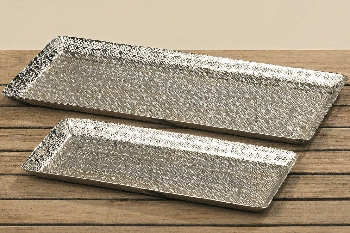 Dekotablett Dekoschale Tablett Schale silber Metall Deko Tischdeko 28 o. 37 cm