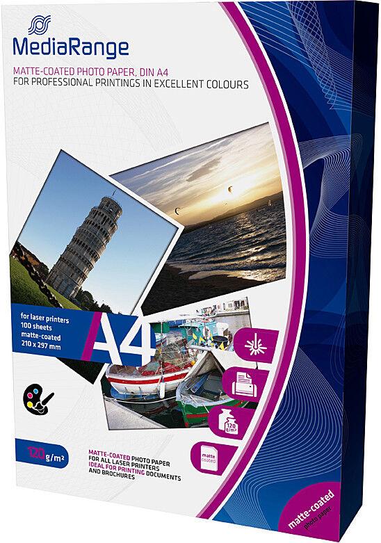 100 Mediarange Foto Papier 120g matt einseitig für Laser Drucker DIN A4