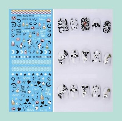 US SELLER-Halloween skull nail art water decals for fingernails products
