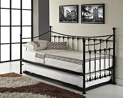 Versailles French Day Bed And Trundle Black White Metal Frame With Foam Mattress EBay