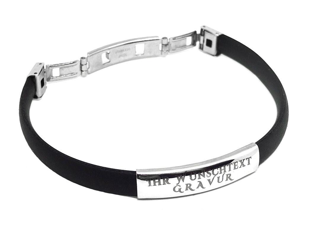 ID Kautschuk Armband mit Edelstahlplatte Mit GRAVUR Wunschtext Wunschname Unisex