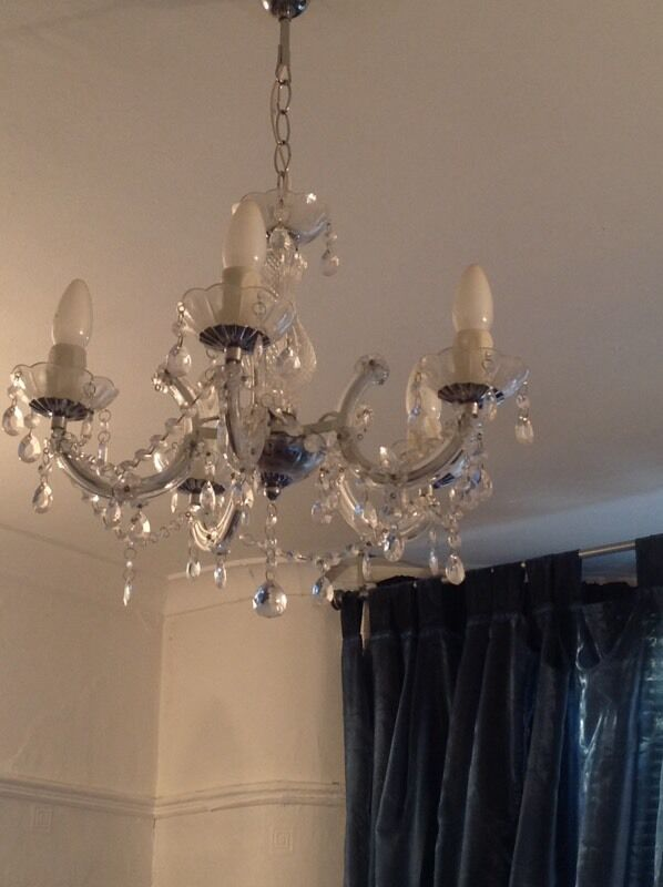 Lights Marie Therese Chandelier 5 Arm Clear 2 Side