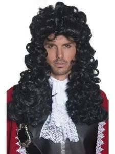 Mens Pirate Captain Wig Long Curly Wavy Black Hair Adult Renaissance Costume