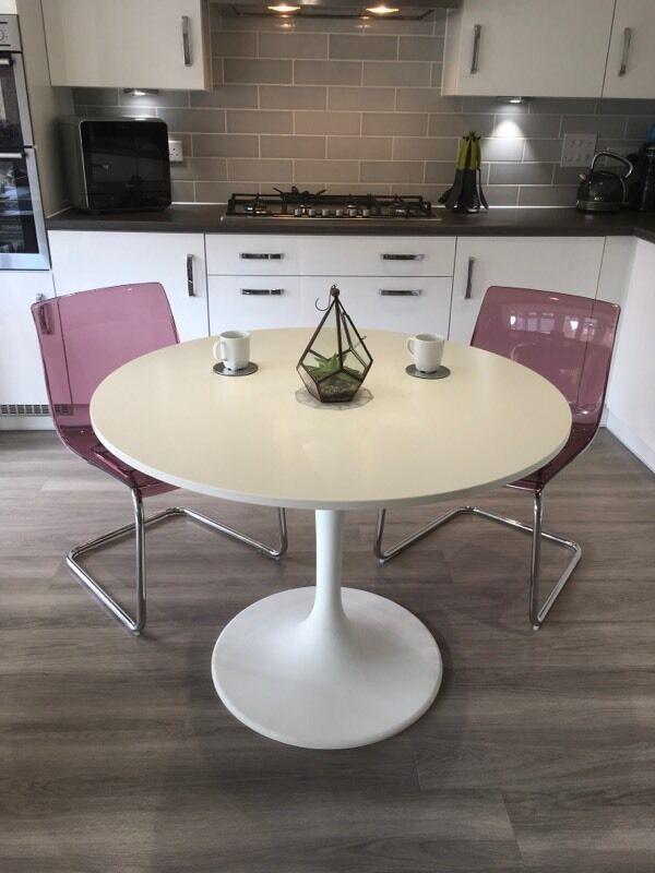 Ikea Docksta White Dining Table With 2 Ikea Tobias Purple