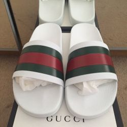 4644c1c3b Men's Gucci Pursuit 7T Pool Sandal/ Slides White Size ...