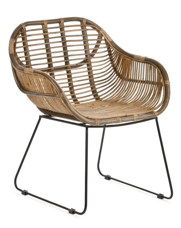 RATTANSTUHL braun Armlehne Retro Esszimmer Lounge Loft Stühle Korb Stuhl Sessel