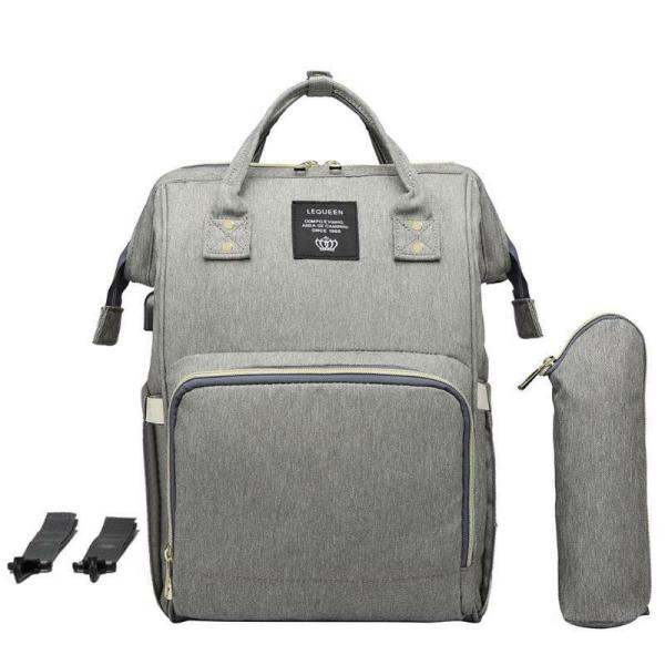 LEQUEEN Waterproof Diaper Bag USB Charging Large Capacity Mummy Nursing Backpack 8