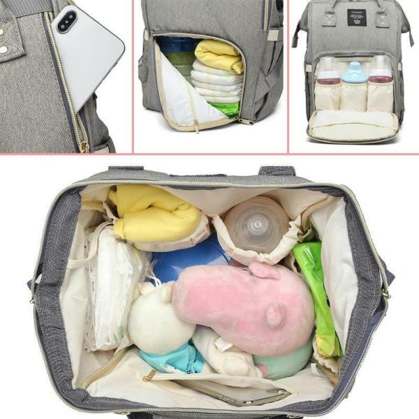 LEQUEEN Waterproof Diaper Bag USB Charging Large Capacity Mummy Nursing Backpack 3