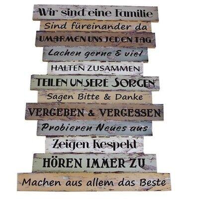 FAMILIENREGELN - Plankenschild Wandschild Dekoschild MDF 51x33 Shabby-Look #1037