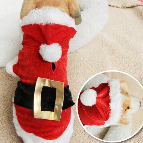 Chrismas Santa Costume Puppy Pet Dog Dress Apparel Hoodie Coat Clothing Outwear 6