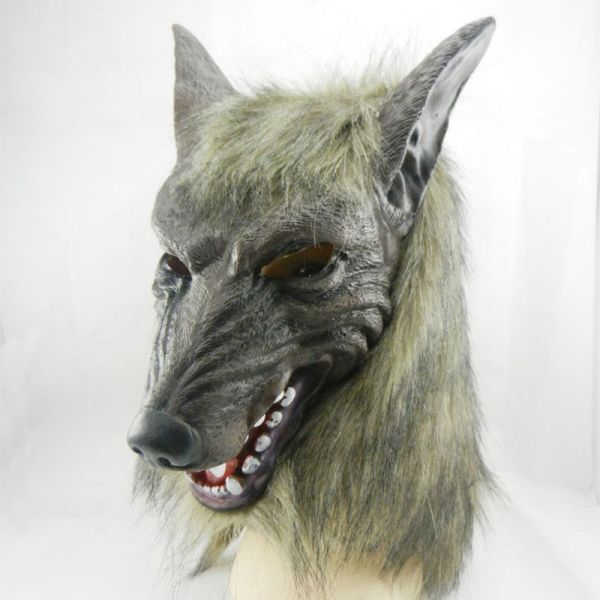 Adult Halloween Mask Full Face Wolf Head Cosplay Costume Party Props Hood Cover 2