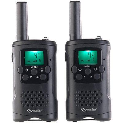 simvalley 2er-Set PMR-Funkgeräte mit VOX, 10 km Reichweite, LED-Taschenlampe