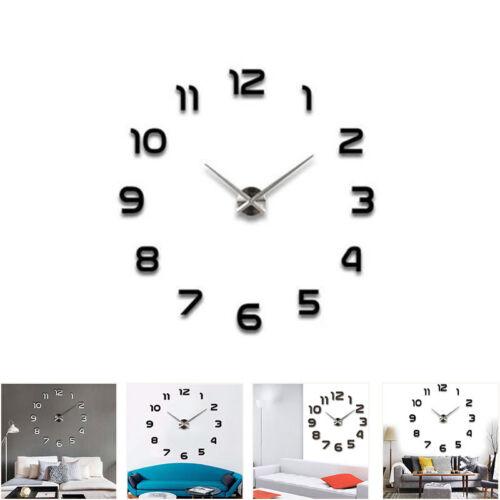 DIY Wanduhr Moderne große Wanduhr 3D Spiegel Aufkleber Rahmenlose groß Uhren