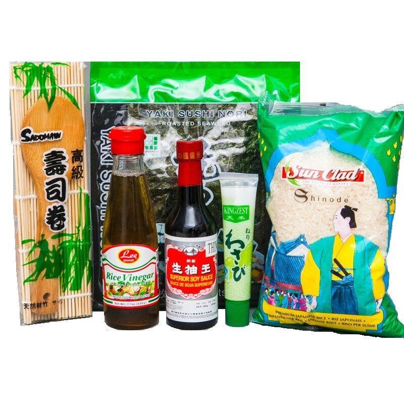 Angebot: Sushi Starter Set 6 teilig + GRATIS Reislöffel Wasabi Nori Sushimatte