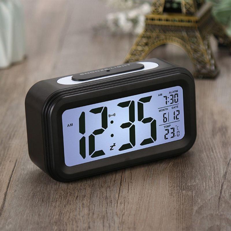 LED Alarm Wecker Digital Alarmwecker Uhr Kalender Beleuchtet Schlummerfunktion