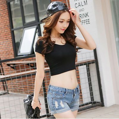 Women Summer Plain Scoop Neck Basic Short Sleeve Ladies Slim Crop Top T-Shirt 2
