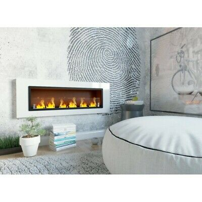 Bio Ethanol Fireplace Wall Mounted Eco Fire 110 cm 7kW 6 burners with Glass